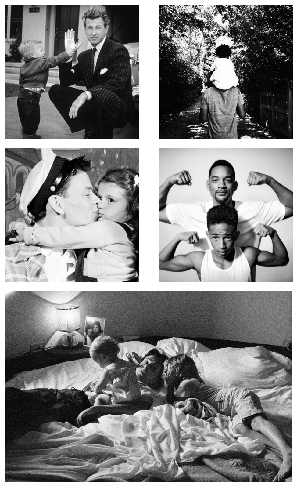 Images from top left to right: Image via Pinterest. // Lloyd Bridges with son, Jeff Bridges. Image via Refinery 29. // Jay Z with Blue Ivy.  Image via Pinterest. // Frank Sinatra with Nancy Sinatra. Image via Pinterest. Will Smith with Jaden Smith. Image via Vanity Fair. // Paul McCartney with James and Stella.