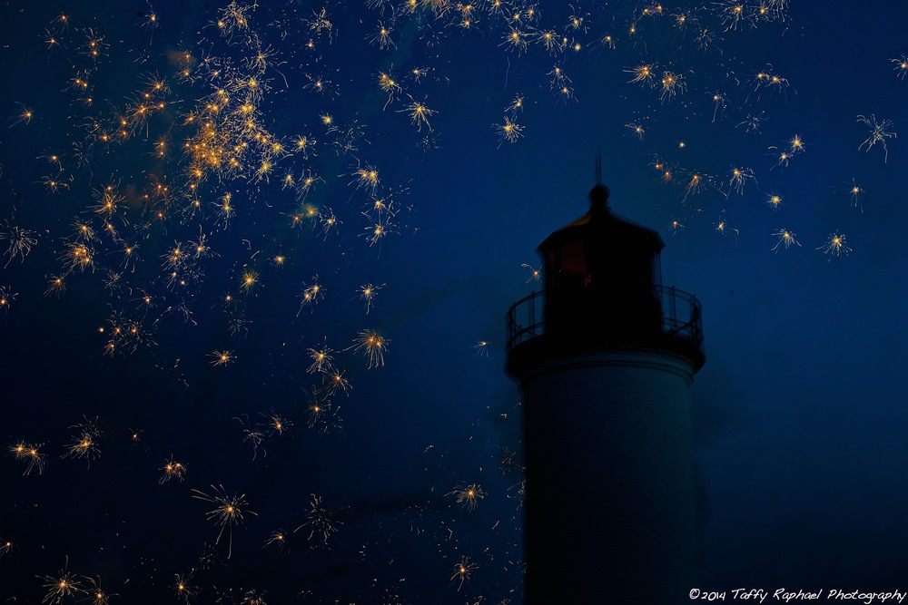 """Fairies Visit the Lighthouse"" by Taffy E. Raphael   Details:  Taken August 2014 on Beaver Island at Whiskey Point Lighthouse.  Fireworks followed the first outdoor concert of Baroque on Beaver."