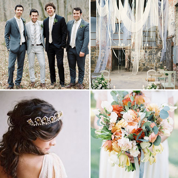 Top Left: Photo by Erich McVey via Junebug Weddings Top Right: Photo by Kate Ignatowski Photography via Green Wedding Shoes Bottom Left: Photo by Tec Petaja via Once Wed Bottom Right: Photo by Whitney Neal, Bouquet by Jaclyn Journey via 100 Layer Cake