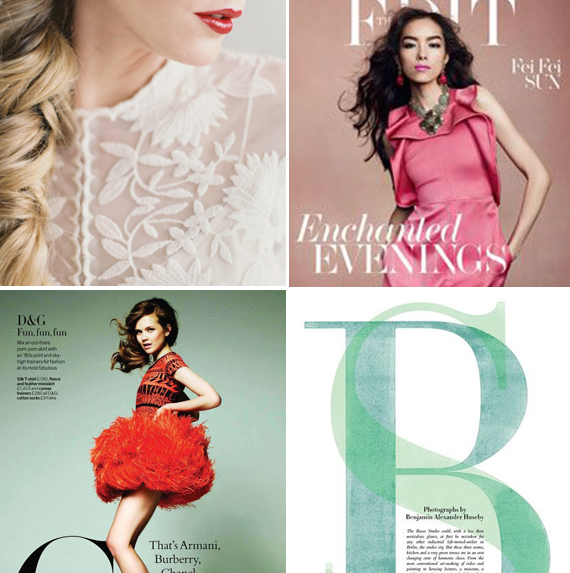 Top Left: Bryce Covey via Once Wed Top Right: The Fresh Start Issue via Net-A-Porter Bottom Left: Walter Chin via Design Scene Bottom Right: Ben Branagan and Christoph Stolberg via Rose Thomas