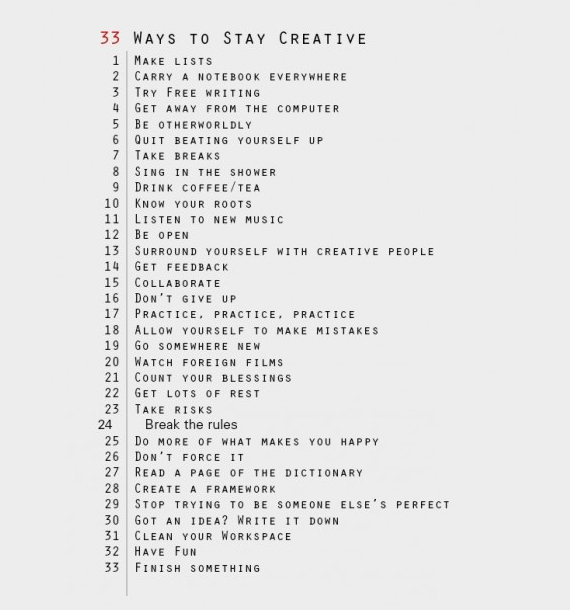 33 Ways to Stay Creative via Lumi | Katherine Jury Blog