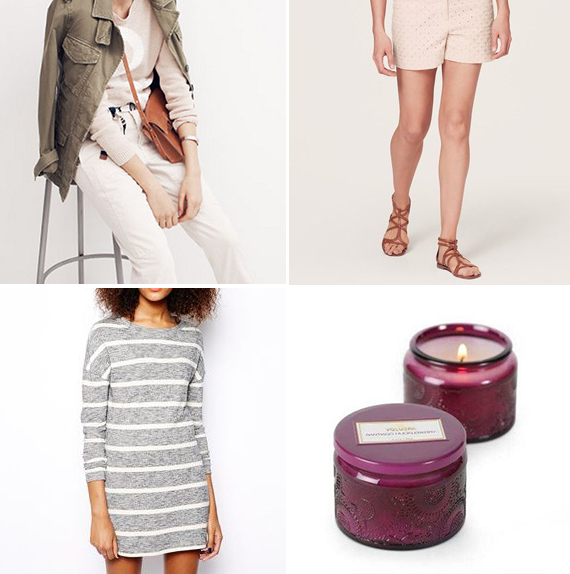 Top Left: Madewell Looks We Love ($88-108) Top Right: Diamond Eyelet Riviera Shorts at Ann Taylor Loft ($54.50) Bottom Left: Vero Moda Crew Neck T-shirt Dress at Asos ($41.40) Bottom Right: Voluspa Santiago Huckleberry Candle at Anthropologie ($10-$26)