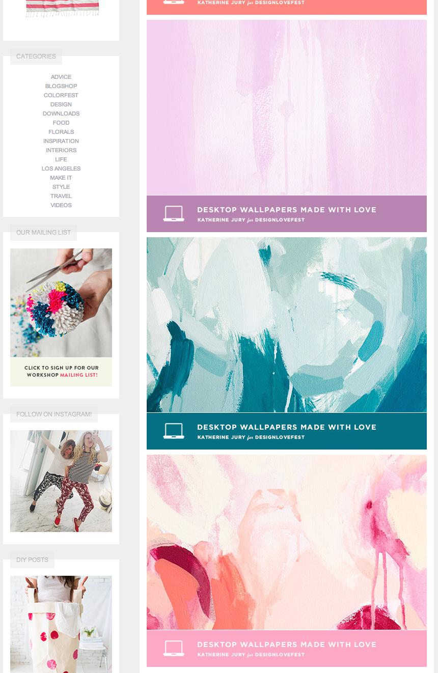 DESIGNLOVEFEST + Katherine Jury (FREE desktop downloads)