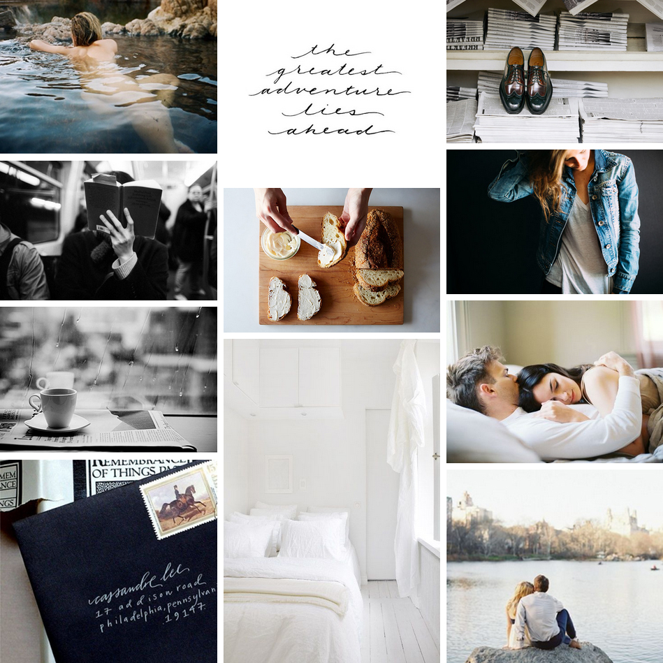 Bright White + Denim + Chocolate Brown Mood Board via Katherine Jury