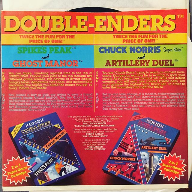 "This may be our all time favorite insert! It's an ad for these #Atari2600 ""Double-Ender"" cartridges. In Chuck Norris Super Kicks ""You are #ChuckNorris trying to reach an ancient monastery."" What a game!  Have you ever seen ads in your LPs for anything other than more records? #RecordCollecting #records #records #recordstore #vinyl #vinylporn #vinyligclub #vinylrecords #videogames #doubleenders"