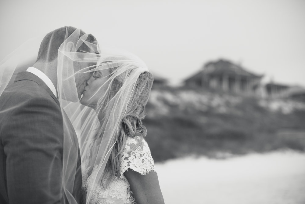Bride and groom portrait in Rosemary Beach, Florida.