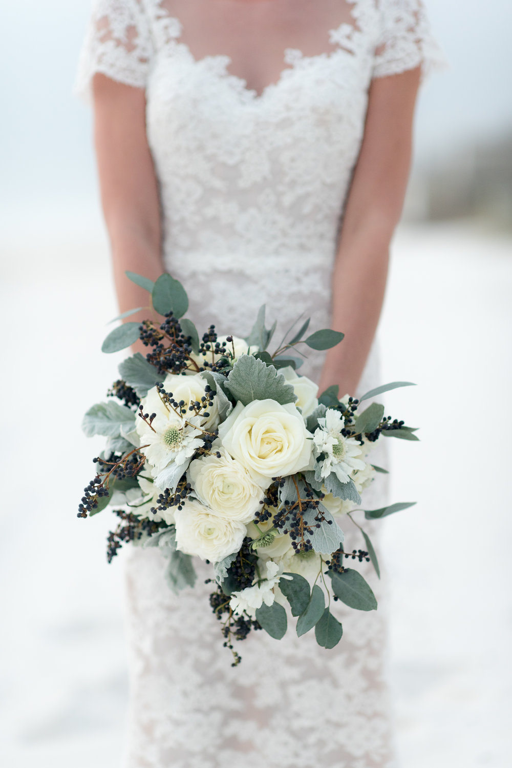 Detail image of Rosemary Beach bride's flower bouquet.