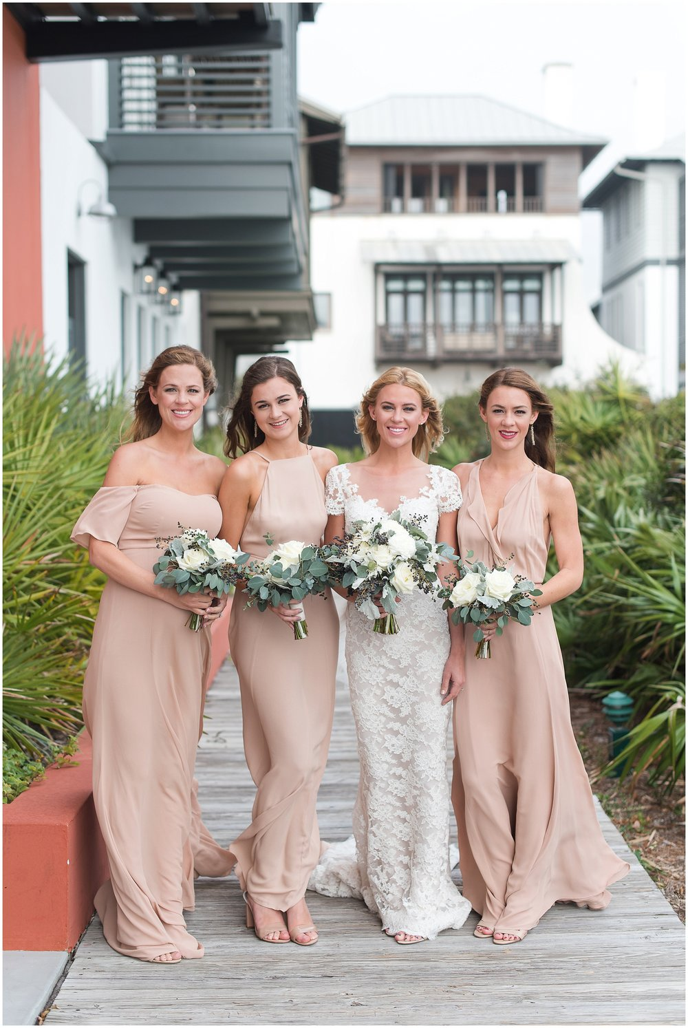 Bride with her bridesmaids in Rosemary Beach, Florida.