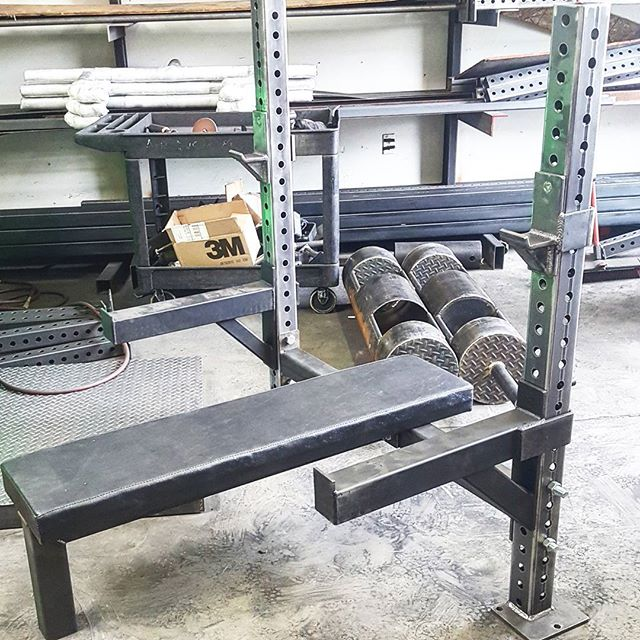 If I make a simple bench like this 3/3 tubing beast jhooks and safety arms and a non skid 3inch pad rated at 1,000lbs easy, would you pay $650 $500 Without safety arms. Lifetime warranty on all welds and any color you want #beastmetals #strongman #mma #crossfit #strongwoman #squats #colors #bench #fitnessmotivation