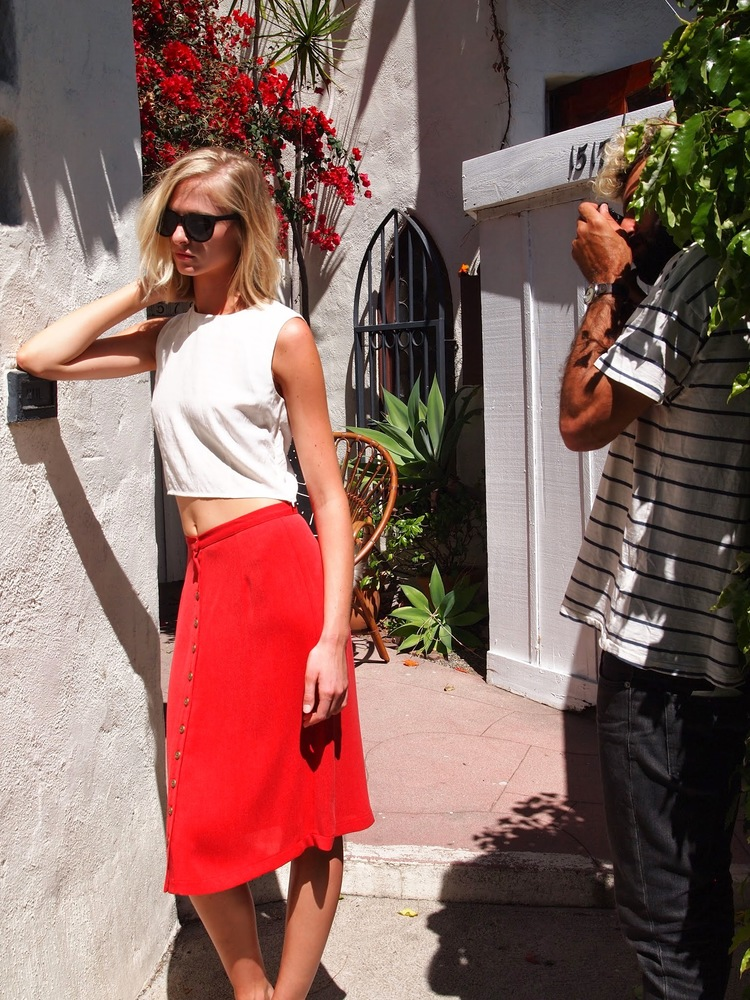 The Billie Top in Soft White and Charlie Skirt in Perfect Red