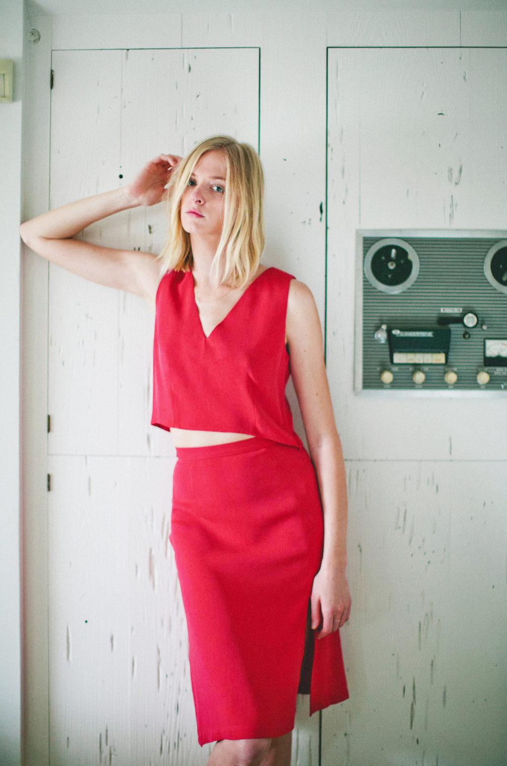 Amos Top + Wyatt Skirt in Perfect Red