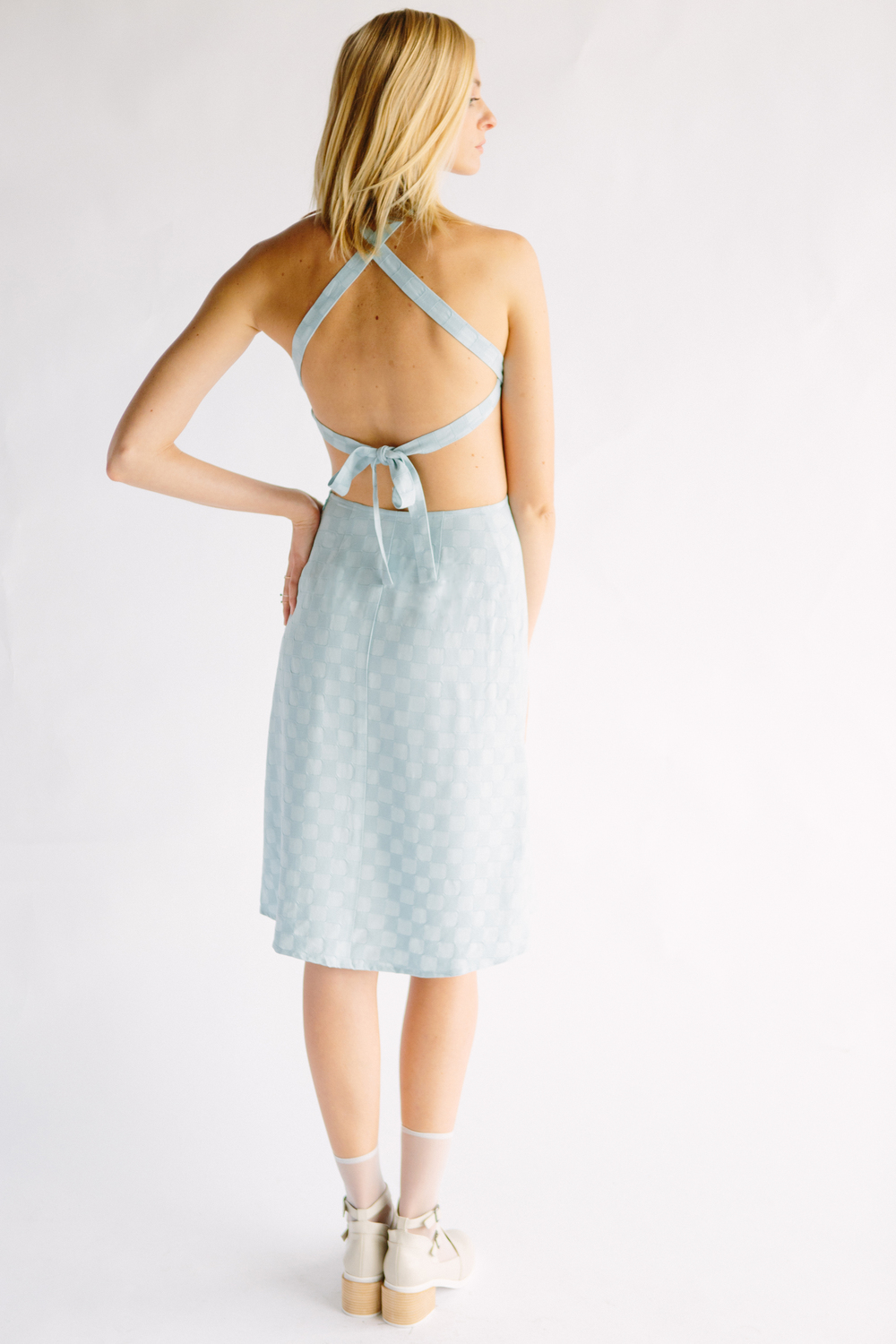 THE BENNETT DRESS - LIGHT BLUE CHECK