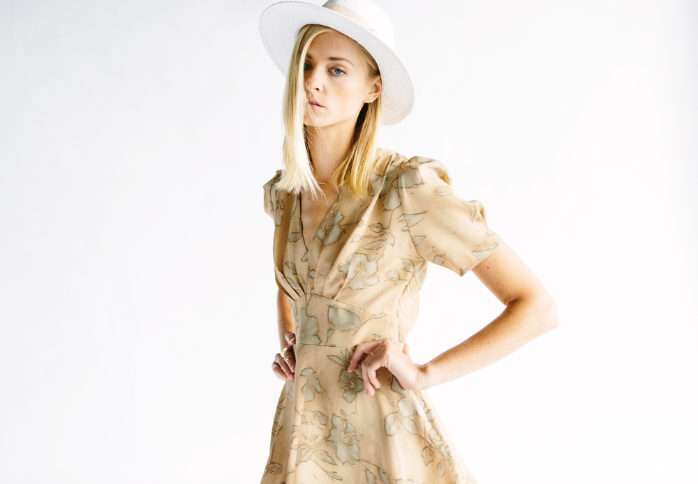 THE LENNOX DRESS - TAN FLORAL