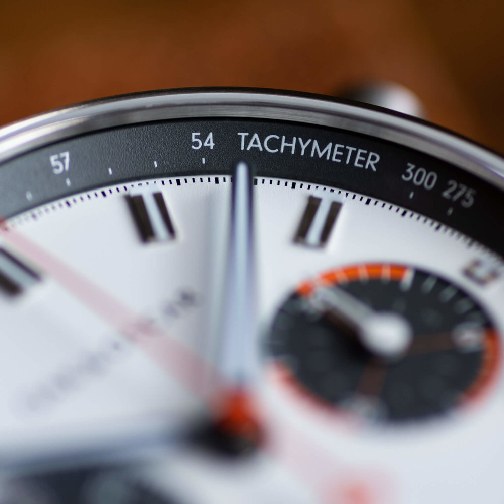 wrapped tachymeter - A quirky, seldom seen detail in chronographs. We love going the extra mile and add in those special little touches that stand out. It's all about the details.