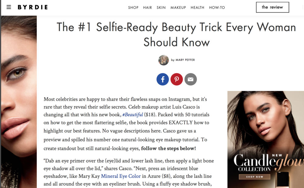 "BYRDIE "" #1 Selfie Ready beauty trick"" luis casco"
