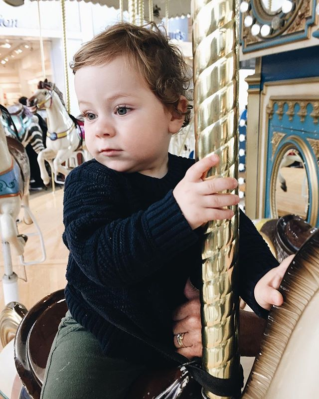 "17 months today & first time riding the carousel! He LOVED it, as soon as it stopped he looked up and said ""one more"", his favorite phrase for everything he likes these days!"