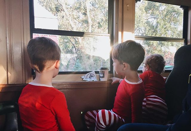Three little elves on the Polar Express yesterday! Thanks Mimi & Papa for the adventure 🎅🏻🎅🏻🎅🏻