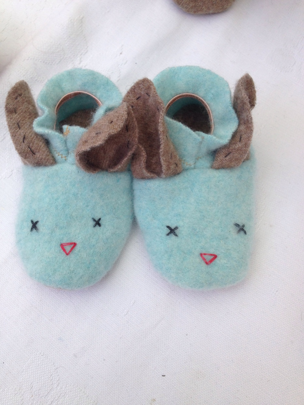 Blue cashmere bunny slippers.