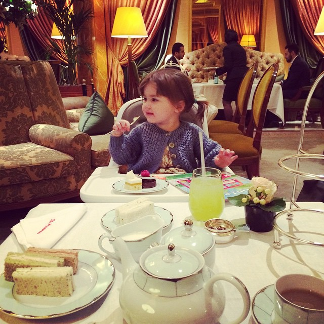 Best birthday treat with my little loves, afternoon tea at The Dorchester. Lady Viv tucking into her cake