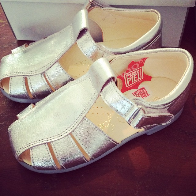 Silver sandals perfect with little tanned legs. Viv & joe shoes