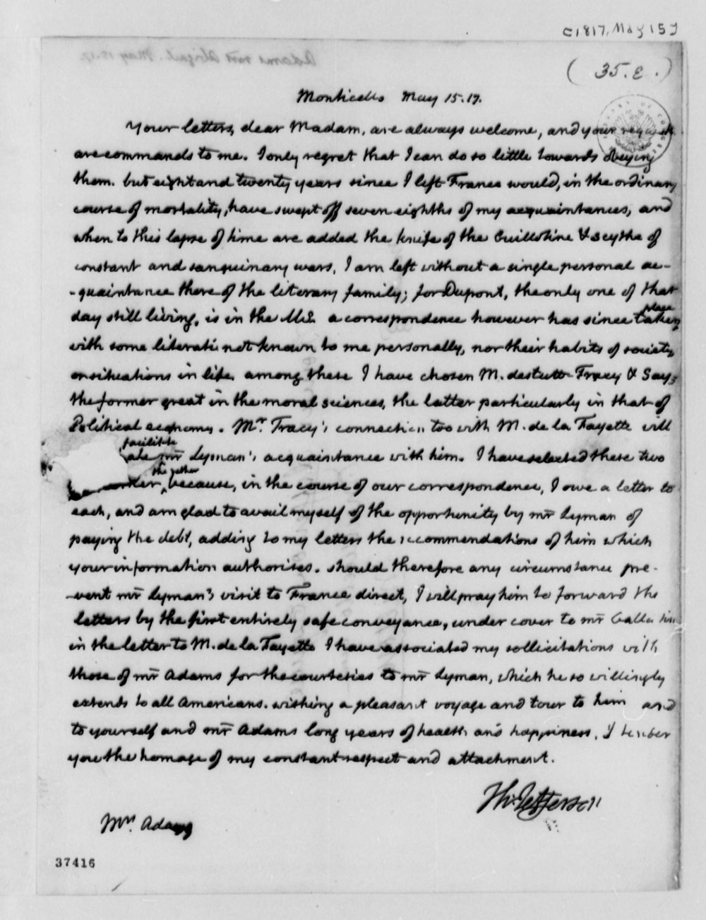A letter written to Thomas Jefferson from Abigail Adams.