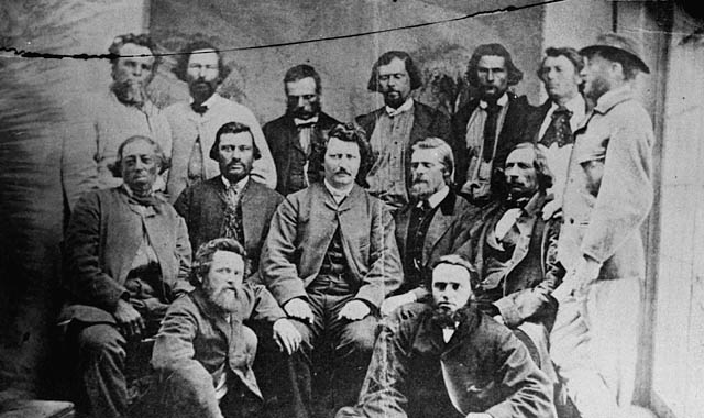Manitoba's Métis Provisional Government. Louis Riel sits at the centre.