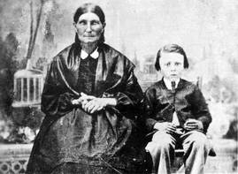 Riel as a child with his grandmother.