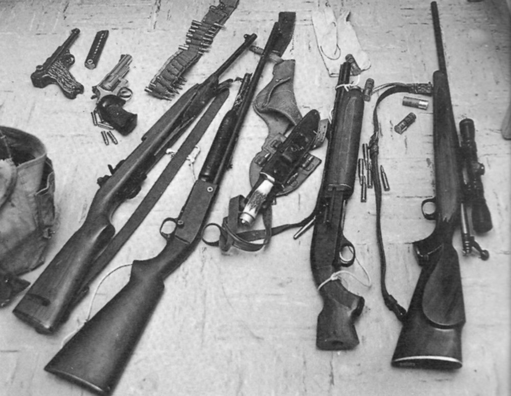 The collection of weapons brought by the Texas Tower shooter on August 1, 1966.