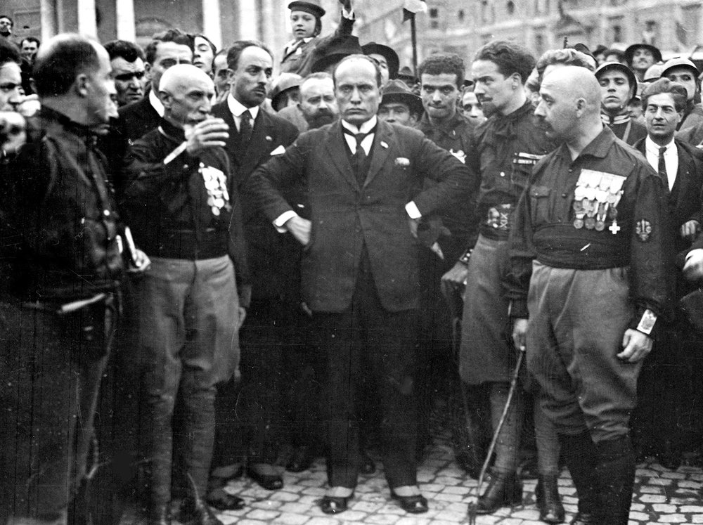 Mussolini (center) at the March on Rome, 1922