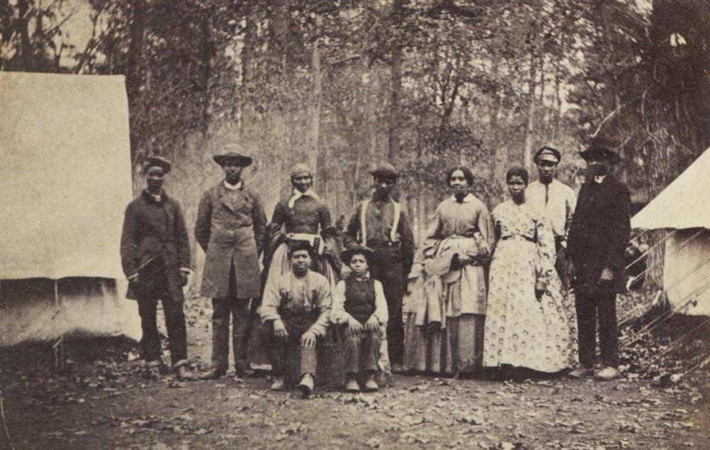 Freedpeople seeking refuge at the 13th Massachusetts Regiment.