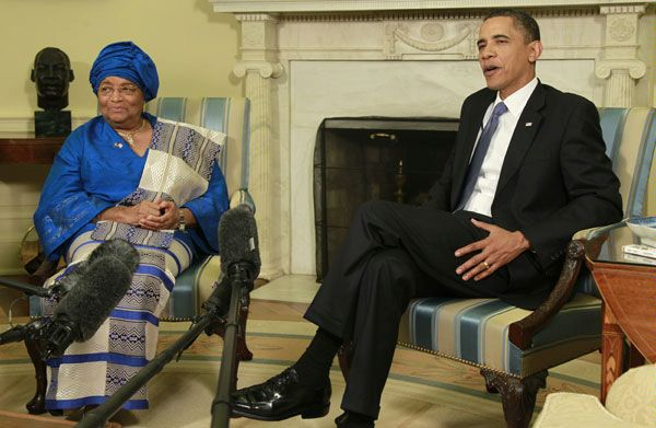 Ellen Johnson-Sirleaf with President  Barack Obama
