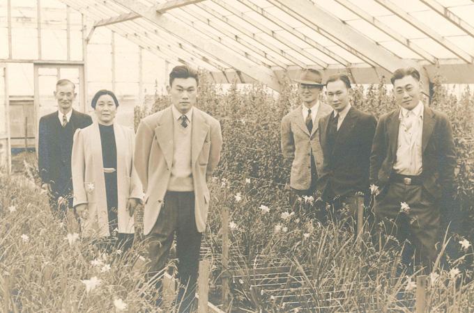 Fred Korematsu and his family in his flower nursery. Photo courtesy of Karen Korematsu and the Korematsu Institute.