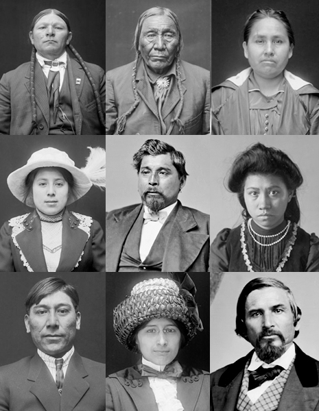 Photos of Native Americans from the Cherokee, Cheyenne, Choctaw, Comanche, Iroquois, and Muscogee peoples, dating from 1868 to 1924