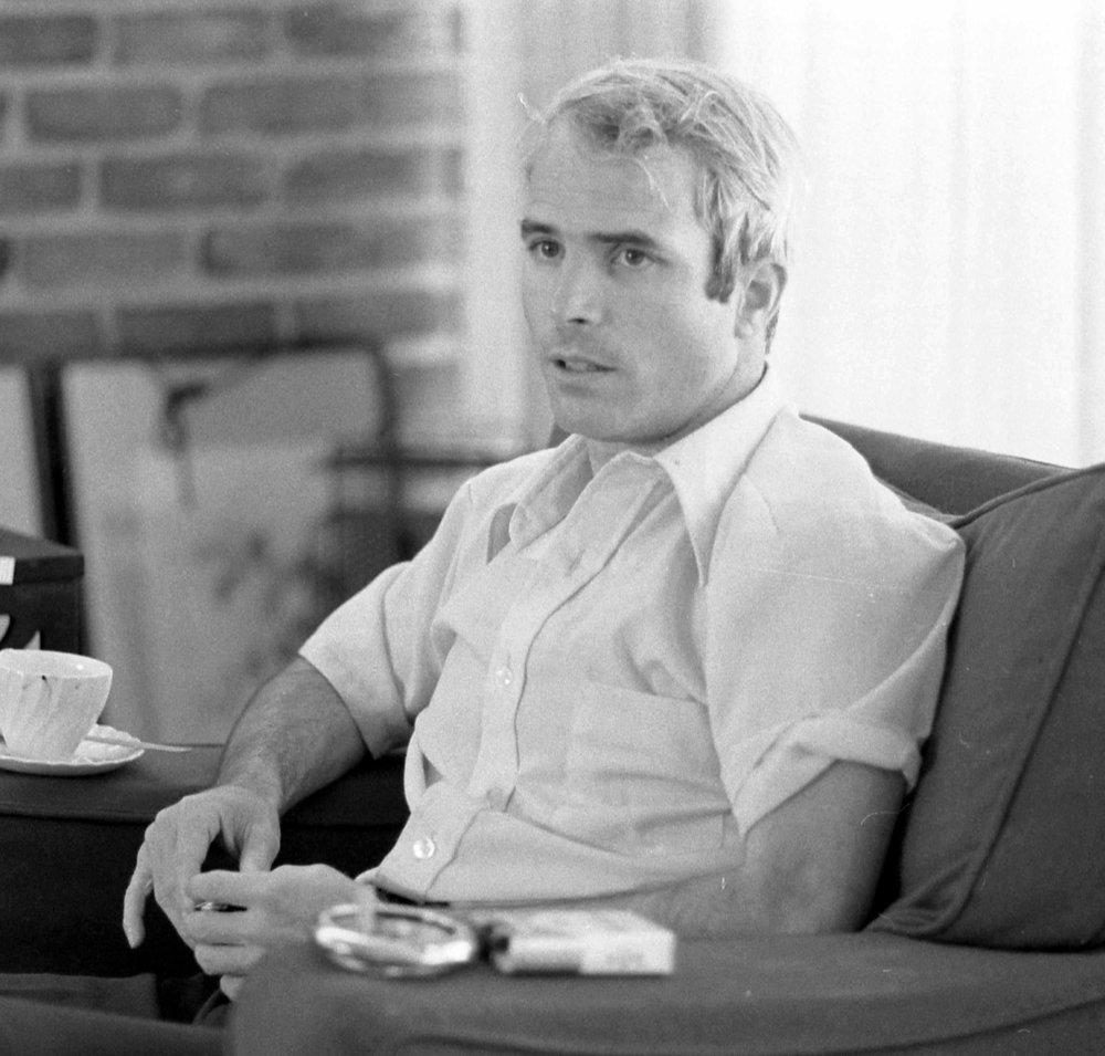Lieutenant Commander McCain being interviewed after his return from Vietnam, April 1973
