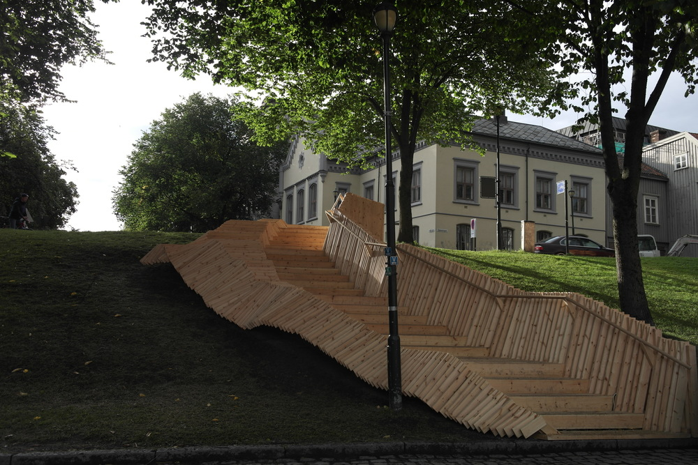 Staircase in Trondheim, Norway; designed and built by students in 2 weeks.