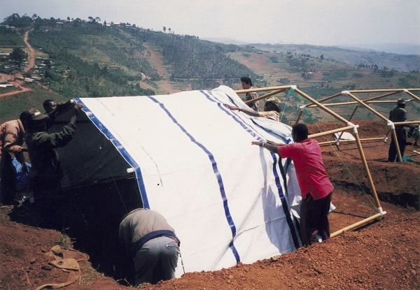 Paper Emergency Shelter for the United Nations High Commissioner for Refugees, Yumba refugee camp, Rwanda, 1999