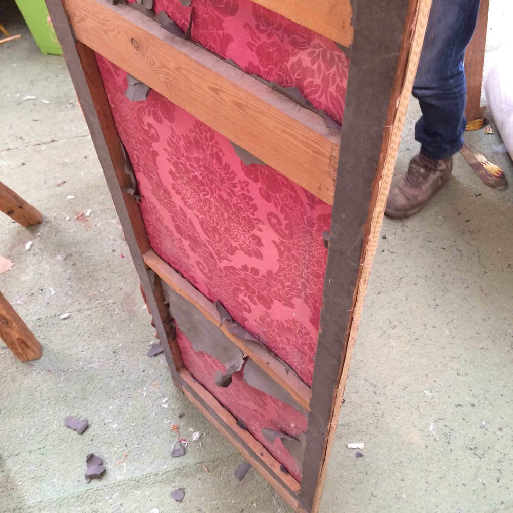 Screen Before, Vintage, Antique, Project, Upholstery, Pink, Fabric, Linen, Interiors