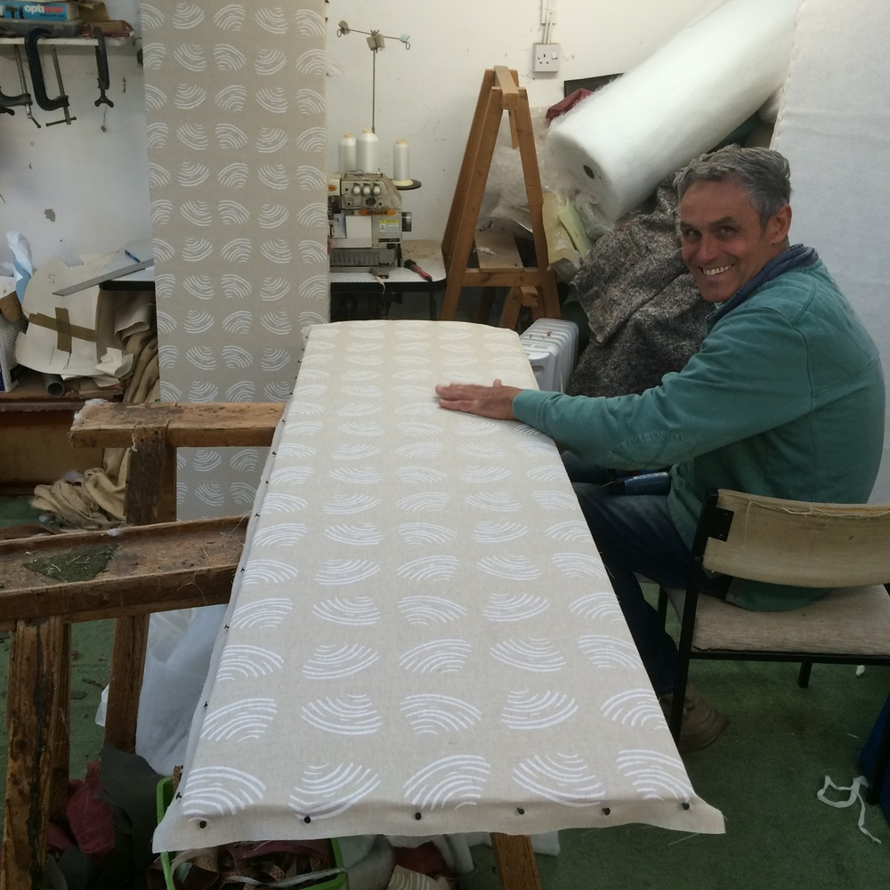 Screen Before, Vintage, Antique, Project, Upholstery, Pink, Fabric, Linen, Interiors, Wadding, Jenny Sibthorp, Clams, Natural, Upholsterer, Pete Honeywill