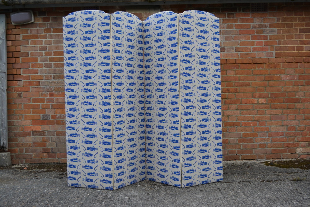 Screen Before, Vintage, Antique, Project, Upholstery, Pink, Fabric, Linen, Interiors, Wadding, Jenny Sibthorp, Clams, Natural, Upholsterer, Pete Honeywill, Bass & Hook, Fish, Blue fabric