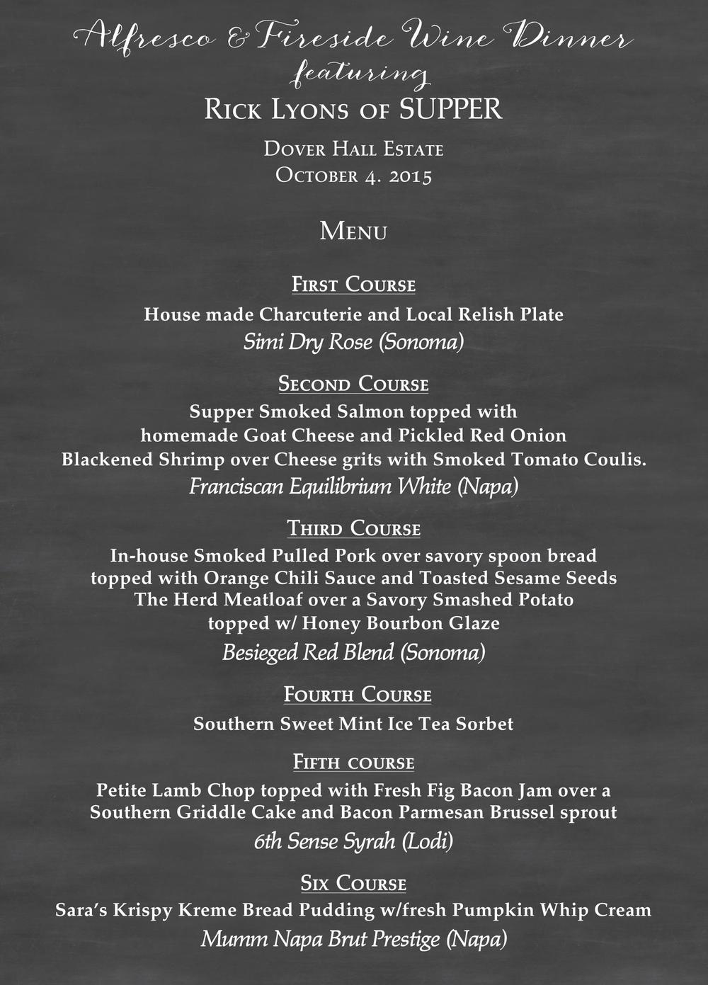 Menu for SUPPER Dinner at Dover Hall