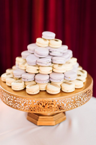 We have noticed that more couples are stepping away from the traditional cake and replacing it with a different sweet.  Jamie and David decided to do both! These macaroons are adorable!