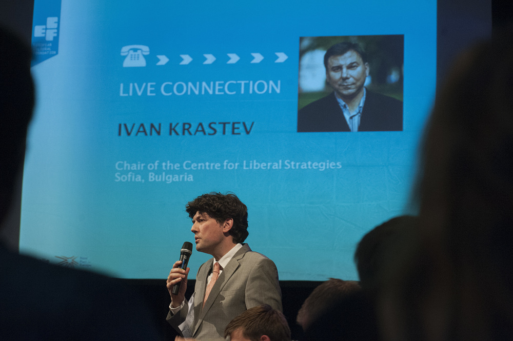 Ivan Krastev joined the debate from Moscow via Skype ©Jan Boeve