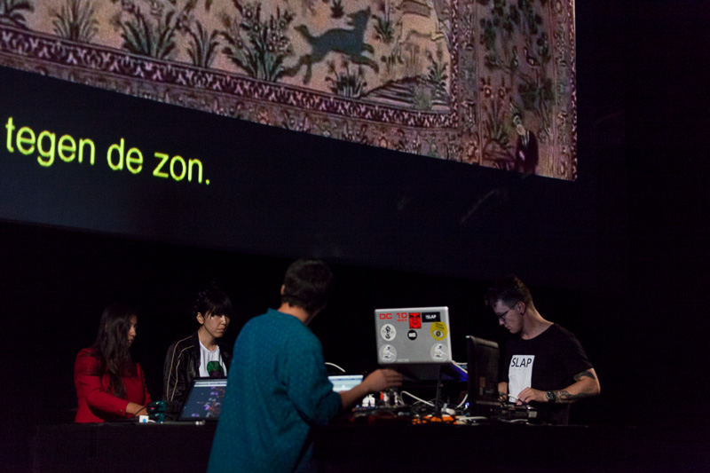 Artists Farah Rahman (the Netherlands), Karol Rakowski (Poland), Noriko Okaku (UK) and Malaventura (Spain) performing  €urovisions  live. Photo ©Xander Remkes