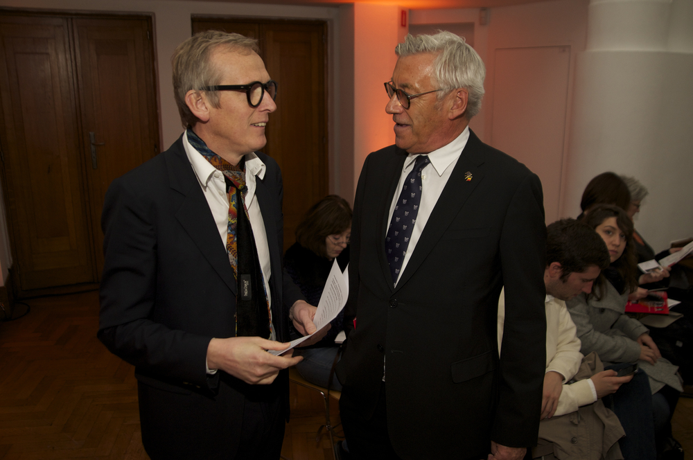 Pul Dujardin, director general of BOZAR and Jimmy Jamar, Head of the European Commission. Representation in BelgiumHistoric Speech debate at BOZAR. Photo ©Yves Gervais