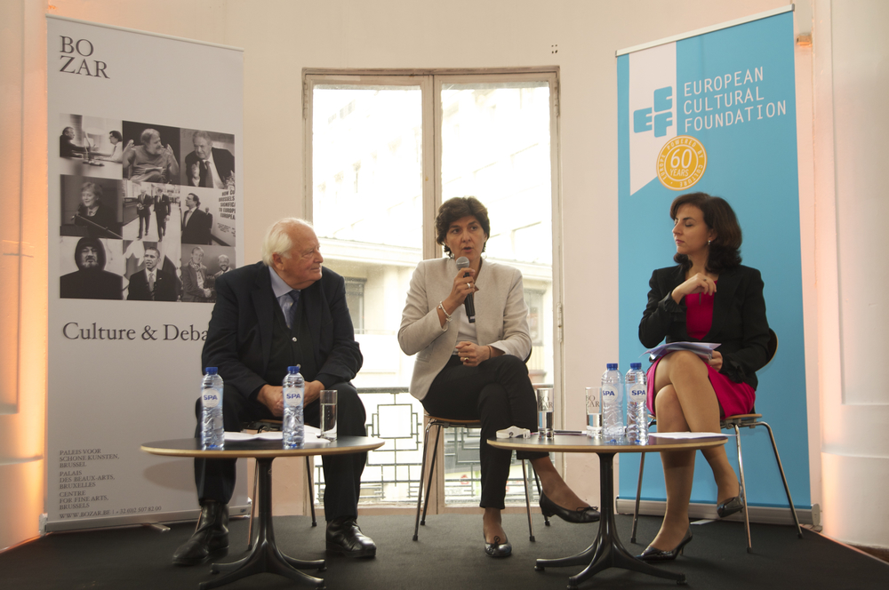 Raymond Georis, Sylvie Goulard and Vanessa Mock at the Historic Speech debate at BOZAR. Photo ©Yves Gervais
