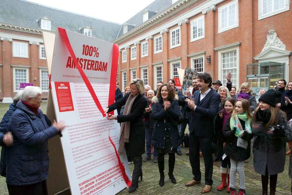 At the opening of the 100% Amsterdam exhibition at the Amsterdam Museum. Photo   by Ernst van Deursen.