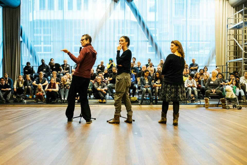 At one of the many rehearsals of 100% Amsterdam with members of Rimini Protokoll. Photo by Chad Bilyeu.