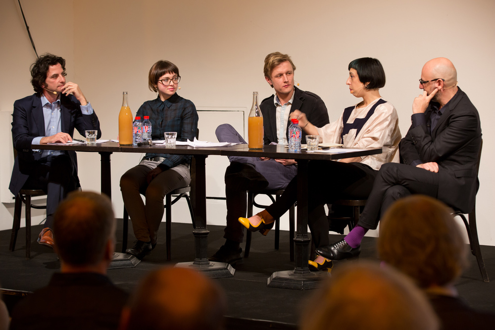 Conversation with the laureates, moderated by Massimiliano Mollona. Photo by Maarten van Haaff
