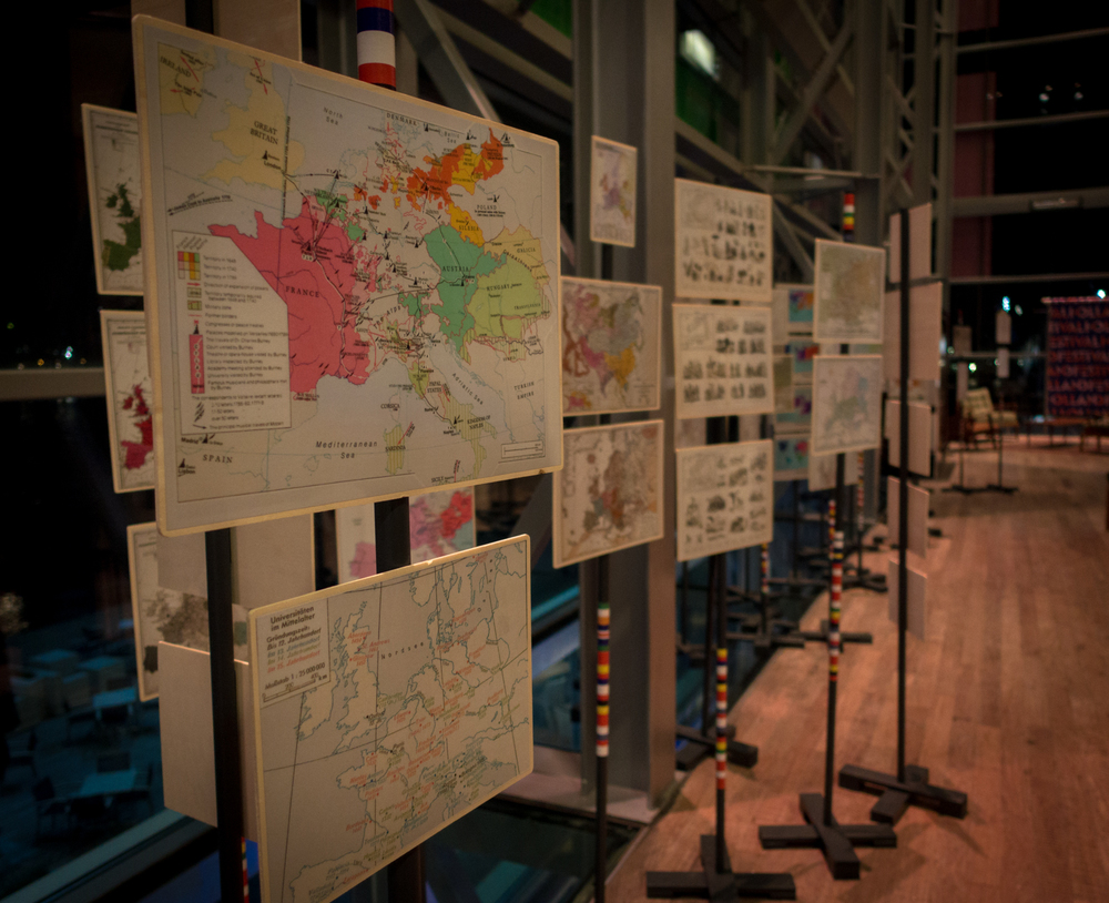 The European maps exhibition   ofUrbo Kuneat Muziekgebouw aan 't IJ . Photo by Canan Marasligil