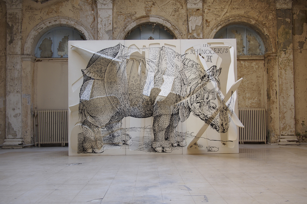 Rhinoceros by Nikos Kessanlis, 1997, mixed media, dimensions variable. Courtesy: Klara Romanos © Photo: Dimitris Tsoublekas